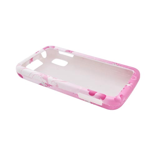 Motorola Atrix 4G Rubberized Hard Case - Flower Peace Design on Pink