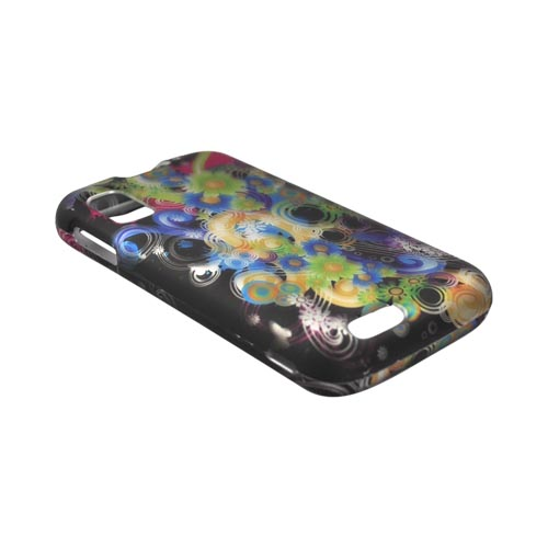 Motorola Atrix 4G Rubberized Hard Case - Rainbow Flowers on Black