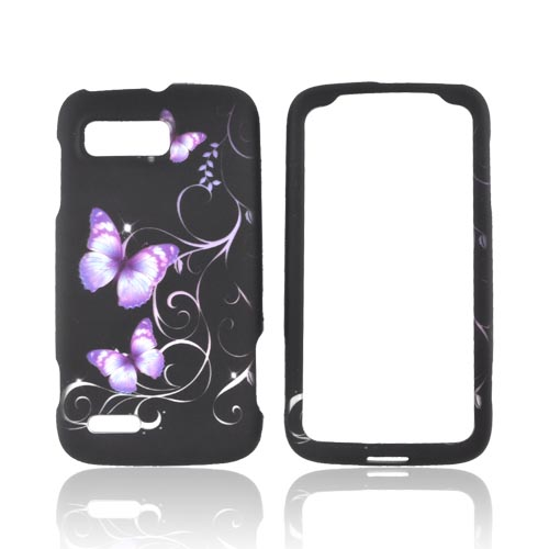 Motorola Atrix 2 Rubberized Hard Case - Purple Butterflies on Black