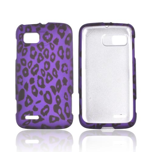 Motorola Atrix 2 Rubberized Hard Case - Purple/ Black Leopard