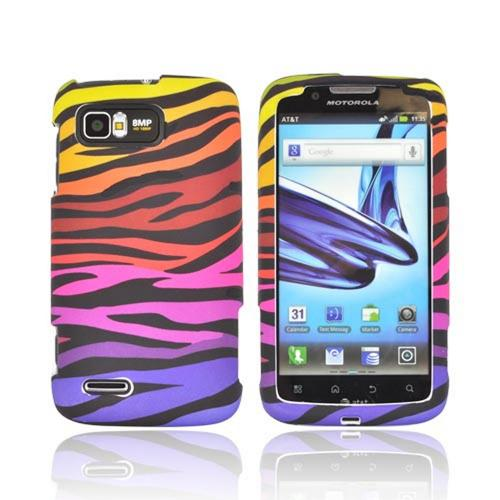 Motorola Atrix 2 Rubberized Hard Case - Rainbow Zebra on Black