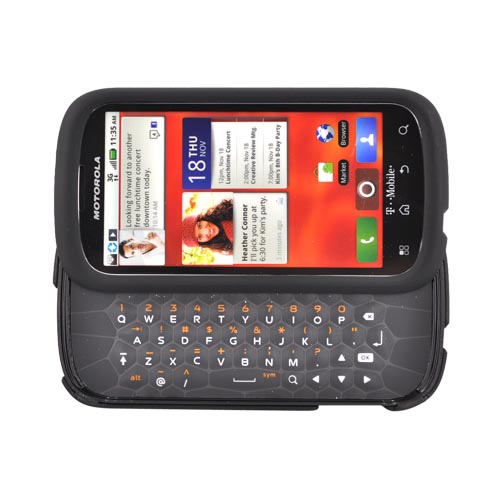 Motorola CLIQ 2 Rubberized Hard Case - Black