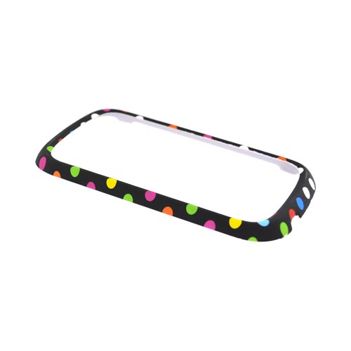 Motorola CLIQ 2 Rubberized Hard Case - Colorful Dots on Black