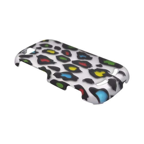 Motorola CLIQ 2 Rubberized Hard Case - Colorful Leopard on Silver