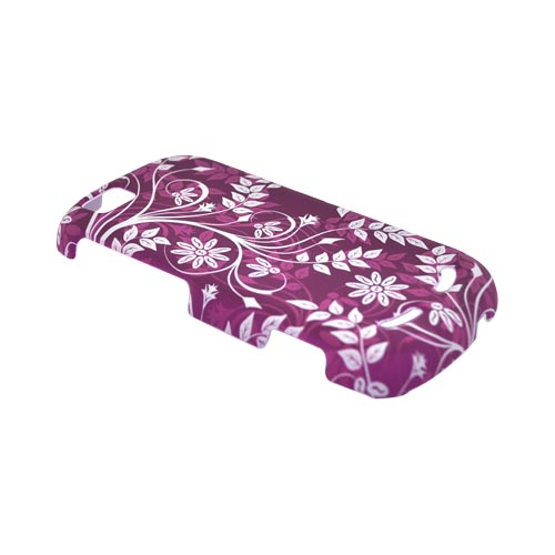Motorola CLIQ 2 Rubberized Hard Case - White Floral Design on Purple