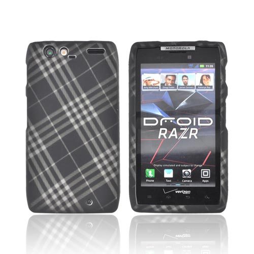 Motorola Droid RAZR Rubberized Hard Case - Gray Plaid on Black