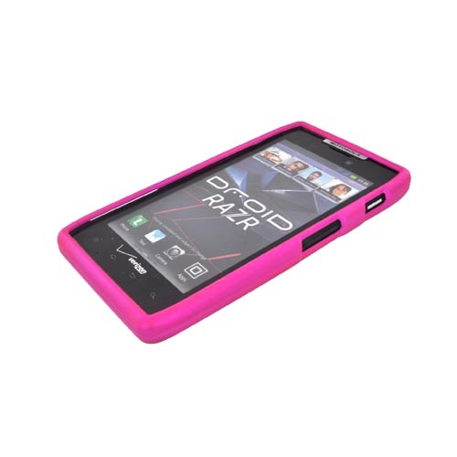 Motorola Droid RAZR Rubberized Hard Case - Hot Pink