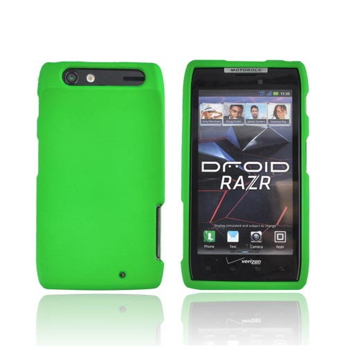 Motorola Droid RAZR Rubberized Hard Case - Neon Green