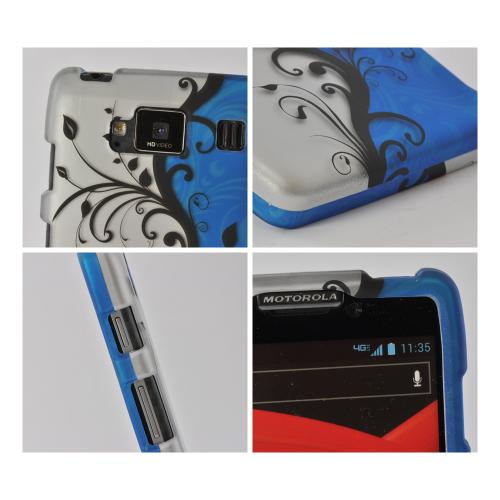 Black Vines on Silver/ Blue Rubberized Hard Case for Motorola Droid RAZR MAXX HD