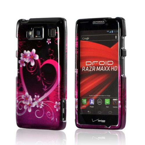 Hot Pink/ Purple Flowers and Hearts Hard Case for Motorola Droid RAZR MAXX HD