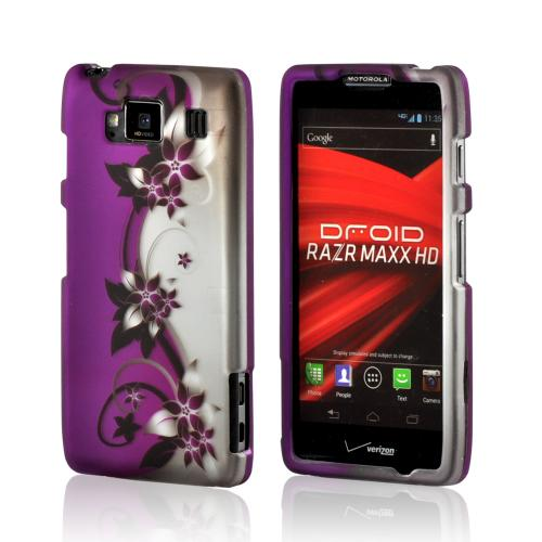 Purple Vines/ Flowers on Silver Rubberized Hard Case for Motorola Droid RAZR MAXX HD