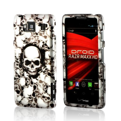 White Skulls on Black Rubberized Hard Case for Motorola Droid RAZR MAXX HD