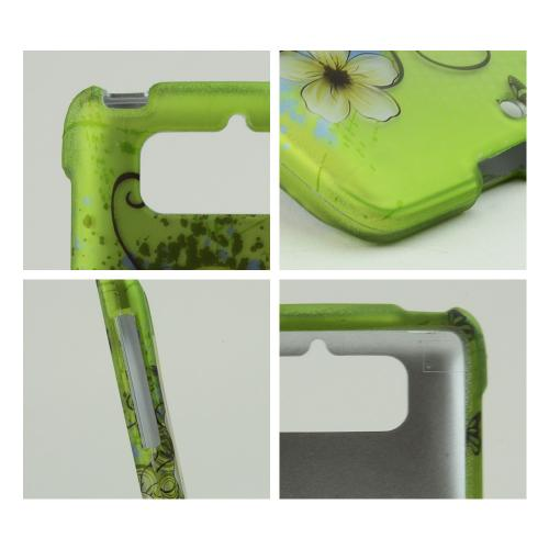 White Hawaiian Flowers on Green Rubberized Hard Case for Motorola Droid Mini
