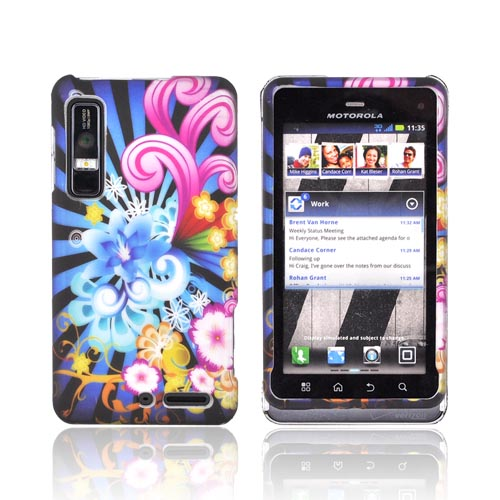 Motorola Droid 3 Rubberized Hard Case - Blue Floral Burst