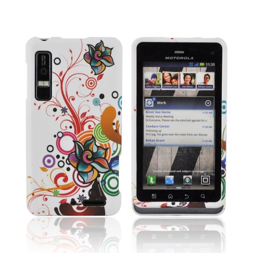 Motorola Droid 3 Rubberized Hard Case - Rainbow Autumn Floral Design on White