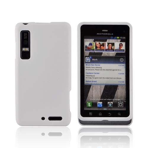 Motorola Droid 3 Rubberized Hard Case - Solid White