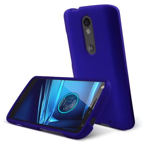 Motorola Driod Turbo 2 Case,  [Blue]  Slim & Protective Rubberized Matte Finish Snap-on Hard Polycarbonate Plastic Case Cover