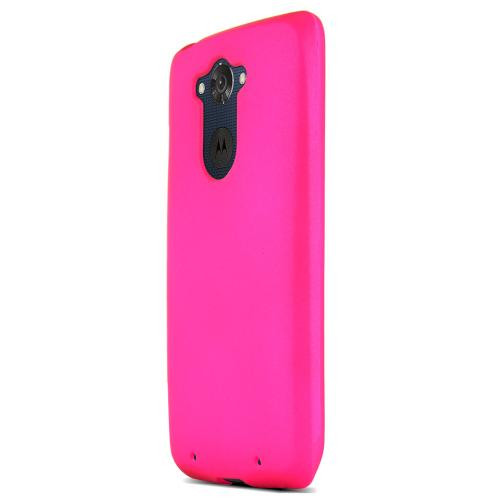 Motorola Droid Turbo Protective Rubberized Hard Case - Anti-slip Matte Rubber Material [Perfect Fitting Motorola Droid Turbo (2014) Case] [hot Pink]