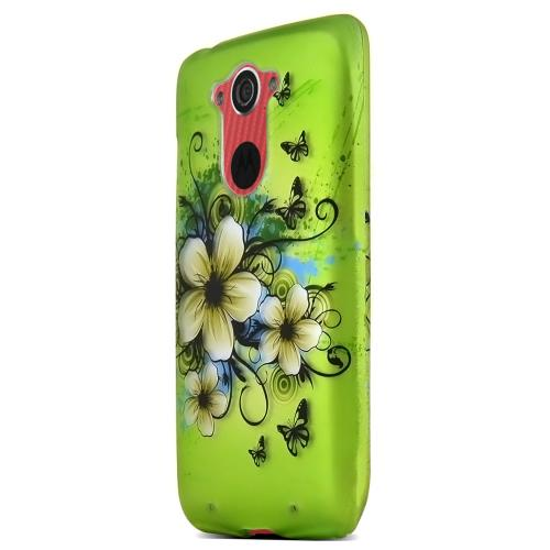Motorola Droid Turbo Protective Rubberized Hard Case - Anti-slip Matte Rubber Material [white Hawaiian Flowers On Green]
