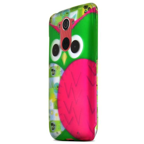 Motorola Droid Turbo Case [Hot Pink with Green Owl] Featuring Anti-Slip Rubberized Matte Polycarbonate Finish