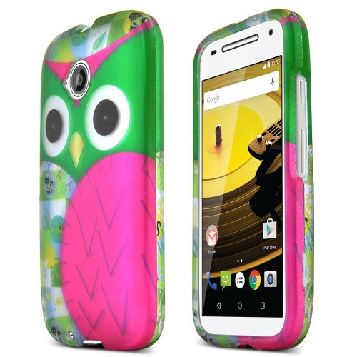 Moto E 2nd Gen Case, [Hot Pink / Green Owl] Slim Grip Rubberized Hard Plastic Case for Motorola Moto E 2nd Gen