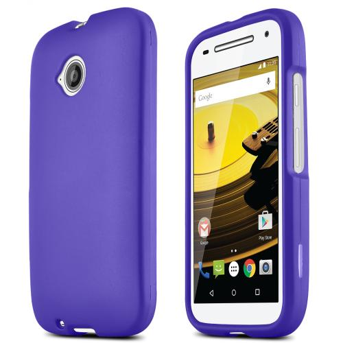 Moto E 2nd Gen Case, [Purple] Slim Grip Rubberized Hard Plastic Case for Motorola Moto E 2nd Gen