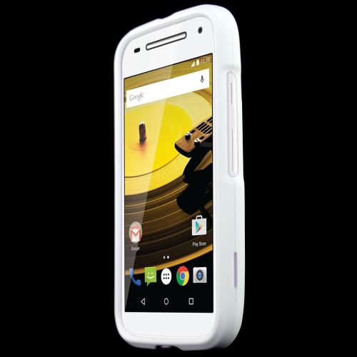 Moto E 2nd Gen Case, [White] Slim Grip Rubberized Hard Plastic Case for Motorola Moto E 2nd Gen