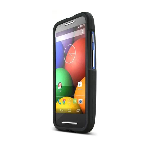 Motorola Moto E Case, [Black] Slim & Protective Rubberized Matte Hard Plastic Case