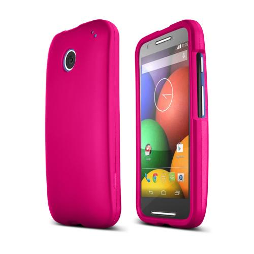 Hot Pink Motorola Moto E Matte Rubberized Hard Case Cover; Perfect fit as Best Coolest Design Plastic cases