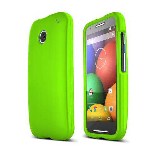 Neon Green Motorola Moto E Matte Rubberized Hard Case Cover; Perfect fit as Best Coolest Design Plastic cases