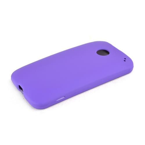 Purple Motorola Moto E Matte Rubberized Hard Case Cover; Perfect fit as Best Coolest Design Plastic cases