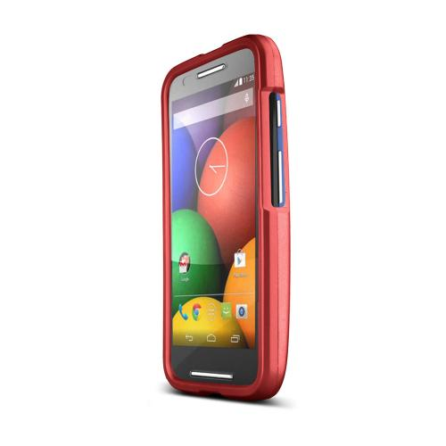 Red Motorola Moto E Matte Rubberized Hard Case Cover; Perfect fit as Best Coolest Design Plastic cases