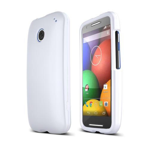 White Motorola Moto E Matte Rubberized Hard Case Cover; Perfect fit as Best Coolest Design Plastic cases