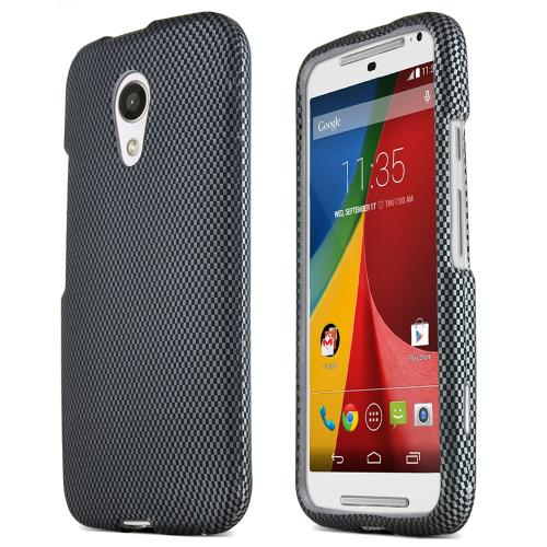 Motorola Moto G 2014 Protective Rubberized Hard Case - Anti-slip Matte Rubber Material [gray Carbon Fiber Design]