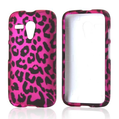 Black Leopard on Hot Pink Rubberized Hard Case for Motorola Moto G