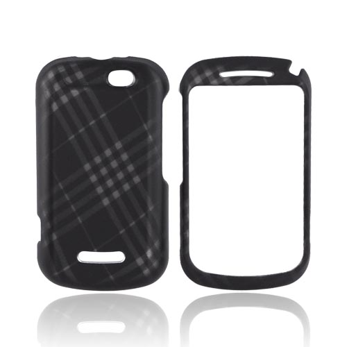 Motorola Clutch+ i475 Rubberized Hard Case - Gray Plaid on Black