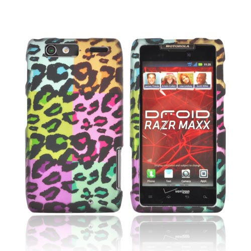 Motorola Droid RAZR MAXX Rubberized Hard Case - Multi-Colored Artsy Leopard