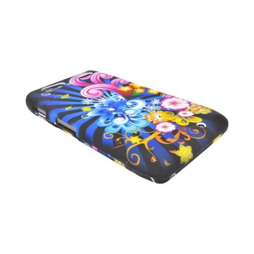 Motorola Droid RAZR MAXX Rubberized Hard Case - Floral Burst on Blue