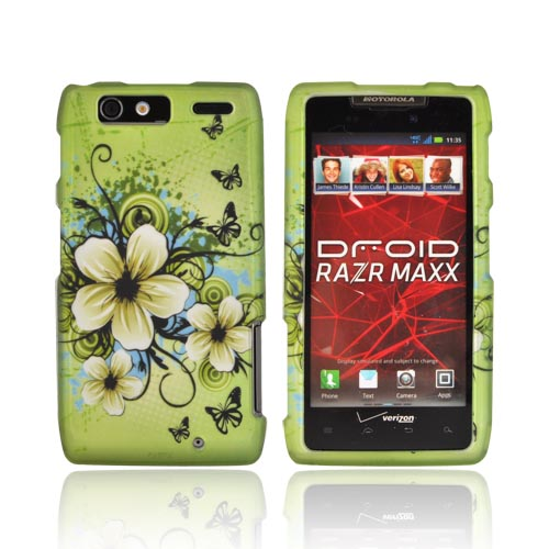 Motorola Droid RAZR MAXX Rubberized Hard Case - White Hawaiian Flowers on Green