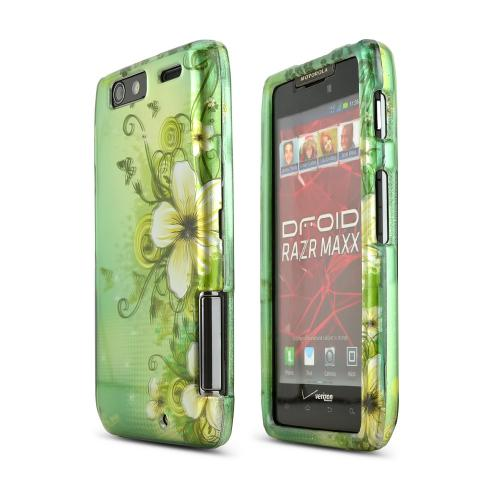 Motorola Droid RAZR MAXX Rubberized Hard Case - Hawaiian Flowers on Green