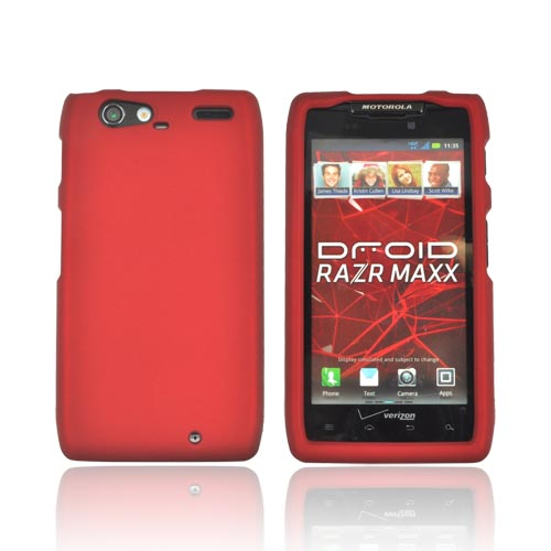 Motorola Droid RAZR MAXX Rubberized Hard Case - Red