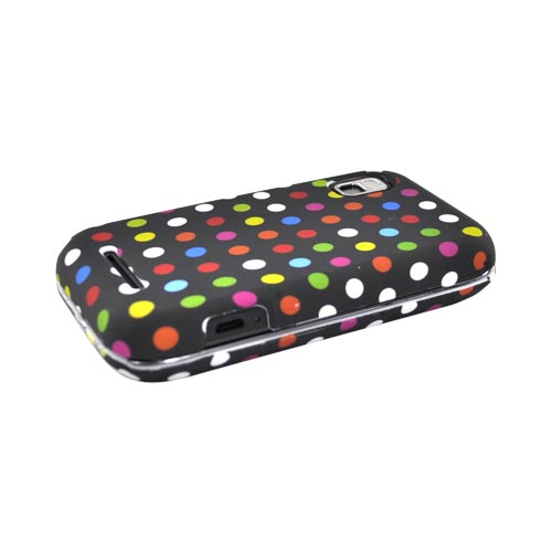 Motorola Flipside MB508 Rubberized Hard Case - Colorful Polk Dots on Black