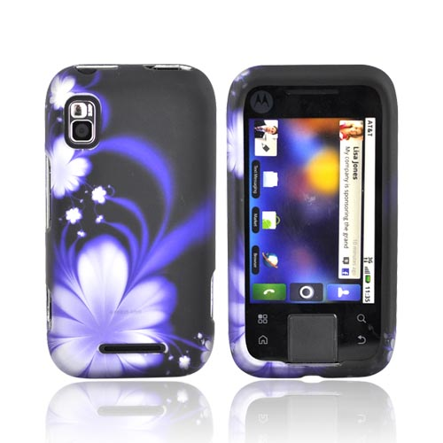 Motorola Flipside MB508 Rubberized Hard Case - Purple Flower on Black