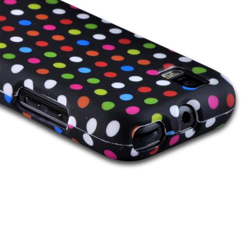 Matte Rubberized Hard Case Rainbow Polka Dots on Black for Motorola XPRT MB612