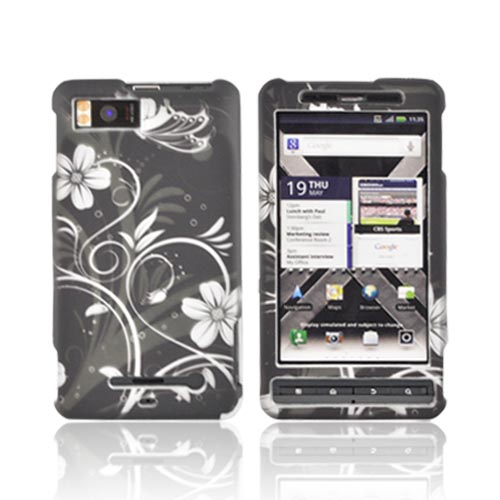 Motorola Droid X MB810/ X2 Rubberized Hard Case - White Butterfly & Flowers on Black