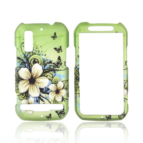 Motorola Photon 4G Rubberized Hard Case - White Hawaiian Flowers on Green