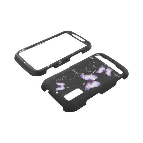 Motorola Photon 4G Rubberized Hard Case - Purple Butterflies on Black