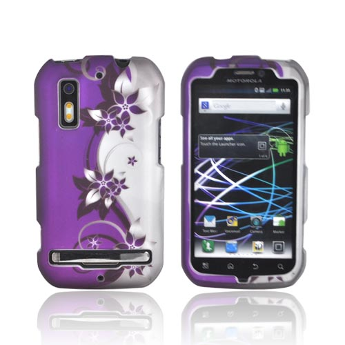 Motorola Photon 4G Rubberized Hard Case - Purple Flowers/ Vines on Silver