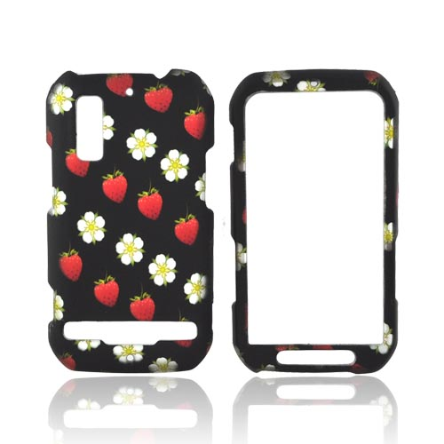 Motorola Photon 4G Rubberized Hard Case - Red Strawberries & White Flowers on Black