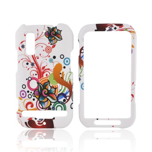 Motorola Photon 4G Rubberized Hard Case - Rainbow Autumn Floral Design on White